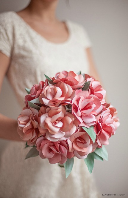 Paper Rose Wedding Bouquet via Lia Griffith
