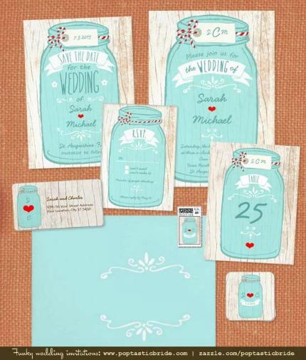 Poptastic Bride Mason Jar Invitation Suites
