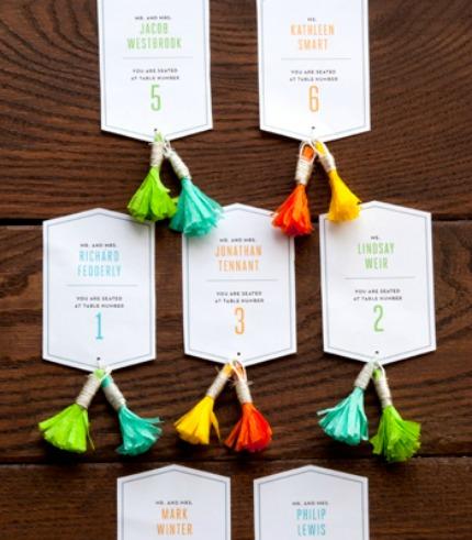 Fringed Tassel Escort Cards confettipop.com