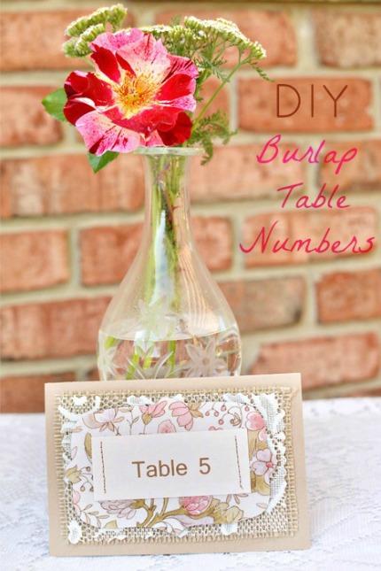 DIY Burlap Table Numbers intimateweddings.com