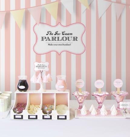 DIY Ice Cream Parlour Wedding Buffet via Eat Drink Chic