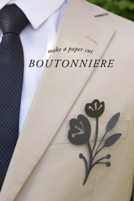 DIY Paper Cut Flower Boutonniere via Brooklyn Bride
