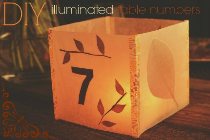 DIY Illuminated Table Numbers via Intimate Weddings
