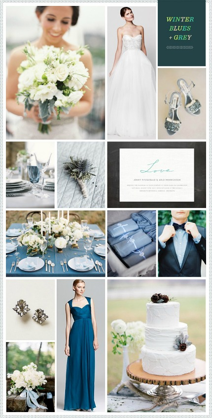 Winter Blues and Grey Wedding Inspiration via Revel Blog