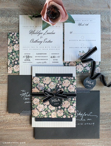DIY Blush and Charcoal Wedding Invitations via Lia Griffith