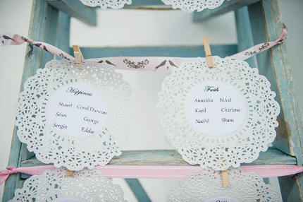 Pearls & Lace Pink Love Birds Wedding via Confetti Daydreams