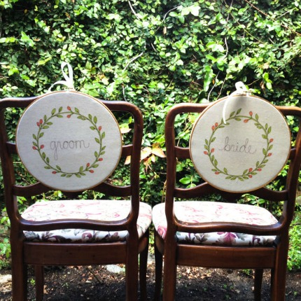Bride and Groom Hoop Art Chair Signs by Mama Bleu Signs via Emmaline Bride