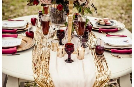 Elegant Burgundy and Gold Fall Wedding