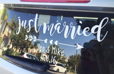 "DIY ""Just Married"" Window Cling"