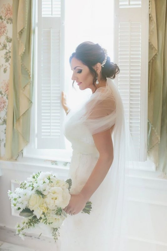 Beautiful Bride with All-White Bridal Bouquet