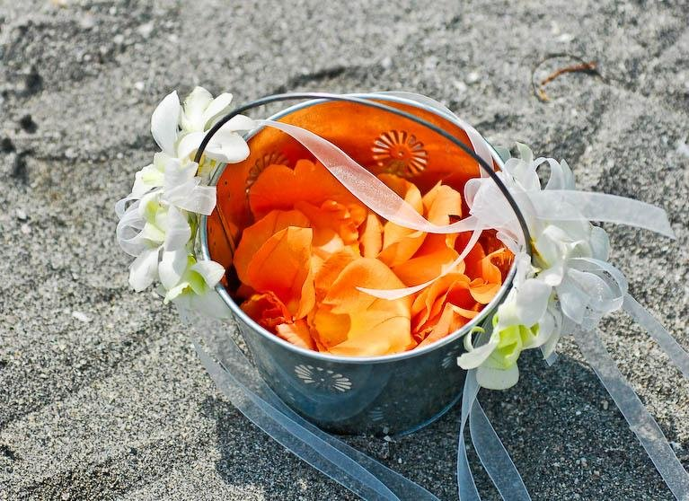 Pail of flowers for Siesta Key beach wedding