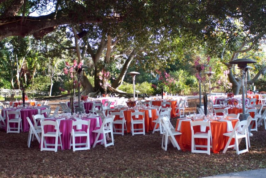 Overview of wedding flowers and tables at Marie Selby Gardens wedding reception