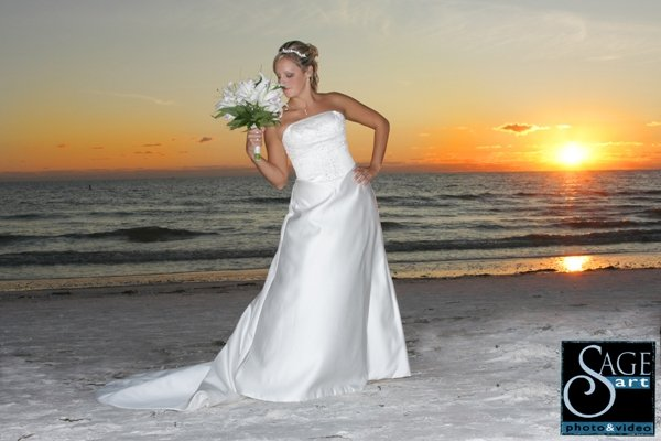 Bride with Bouquet at Lido Beach Wedding In Sarasota