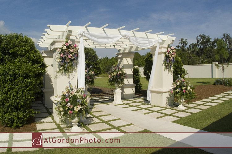 Gazebo with Wedding Flowers at Concessions Golf & Country Club Wedding Ceremony