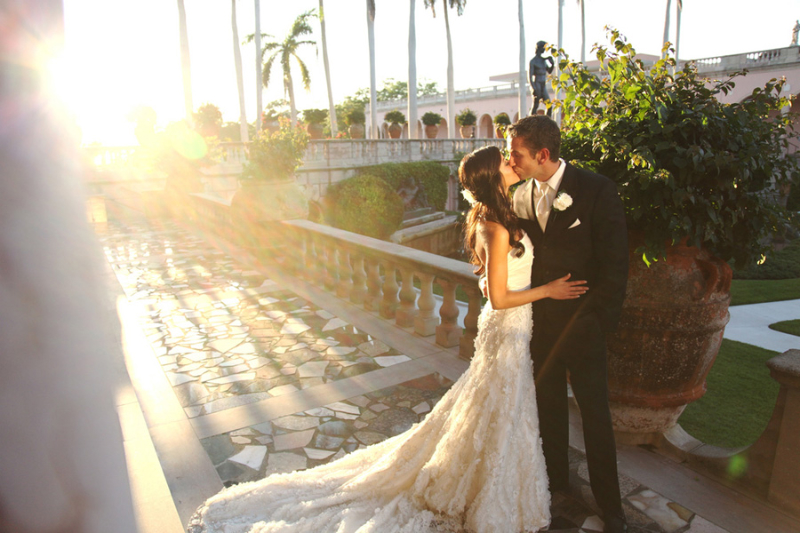 Bride and Groom at Ringling Courtyard Wedding