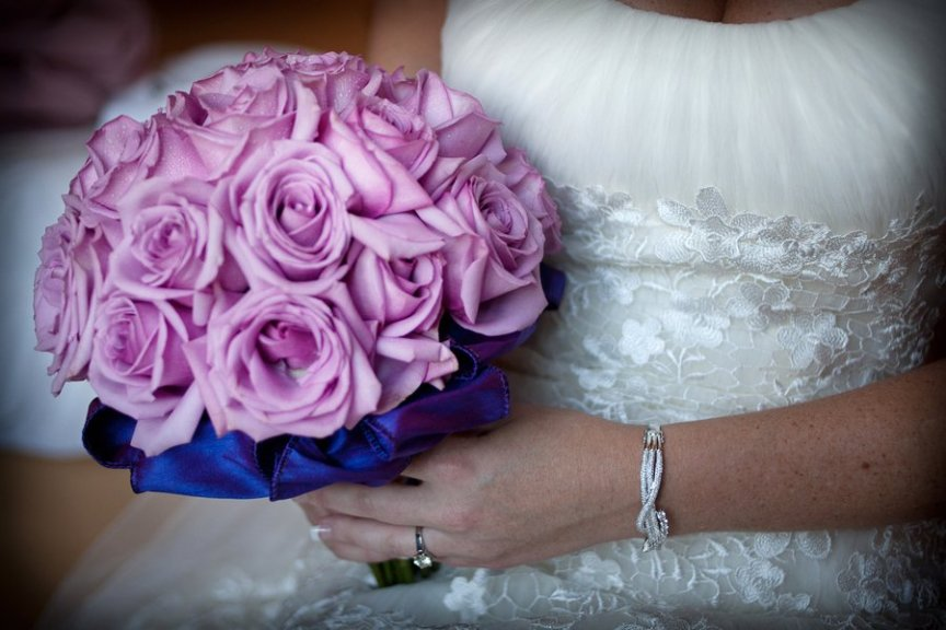 Close-up of bridal bouquet