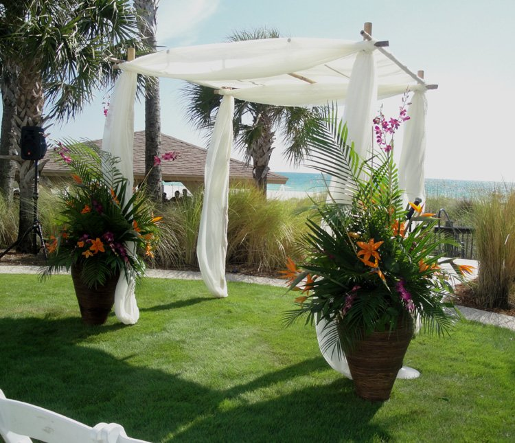 Bamboo Canopy with Wedding Flowers