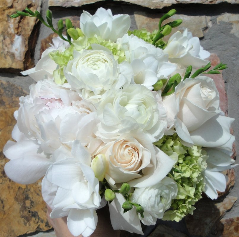 Wedding Bouquet: Peonies, Roses and Ranunculus