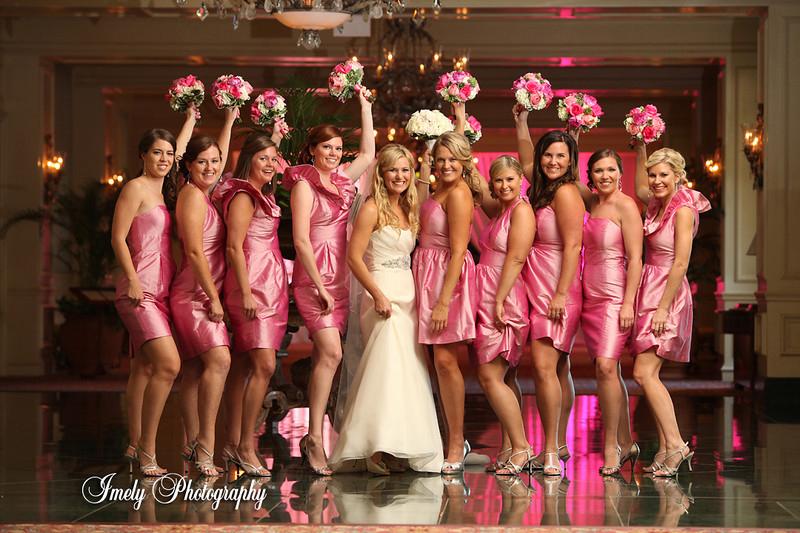 Bridal Party with Bouquets at Sarasota Ritz Carlton Wedding