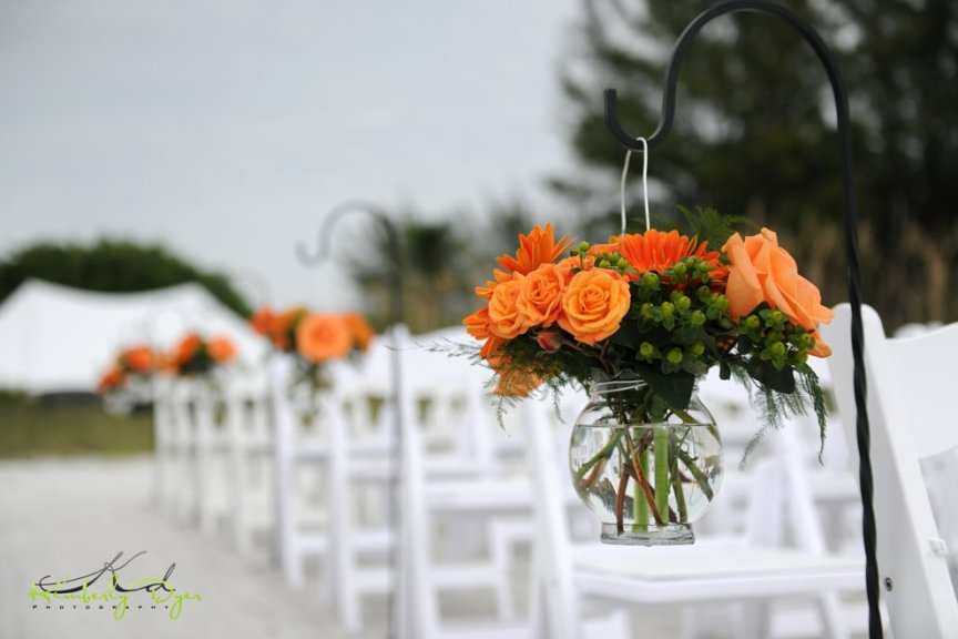 Shepherd's Hooks with Orange Roses and Green Hypericum