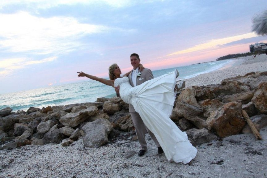 Bride and Groom at Lido Beach Wedding