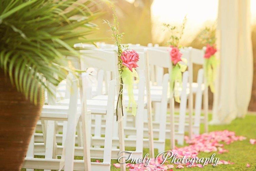 Wedding Ceremony Flowers at the Ritz Carlton Destination Wedding in Sarasota FL