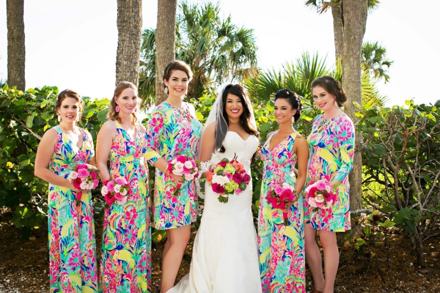 Bride and Bridesmaids with Bright Bouquets