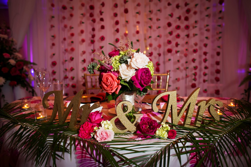 Sweetheart Table with Mr and Mrs Signs