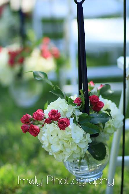 Shepherd Hook with Hydrangea and Pink Flowers