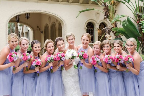 Bridal Bouquets in Shades of Lavender, Pink, and White