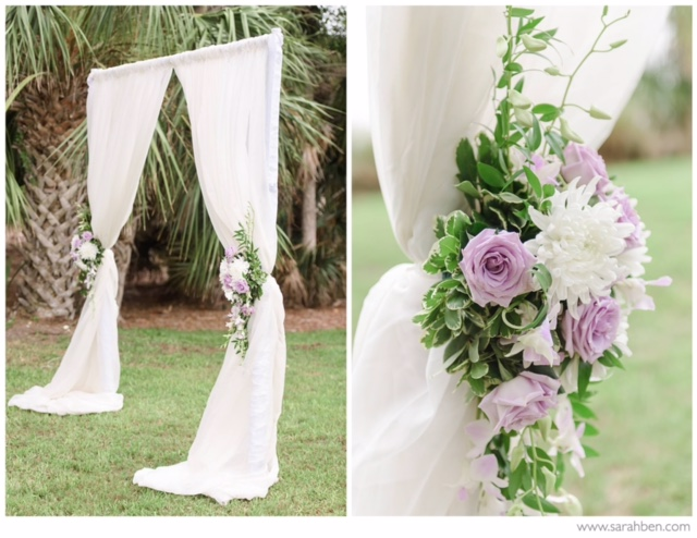 Wedding Arch with Purple and White Flowers
