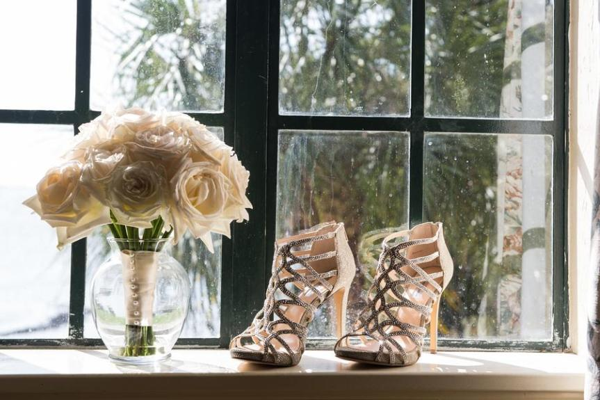 All White Bridal Bouquet with Wedding Shoes