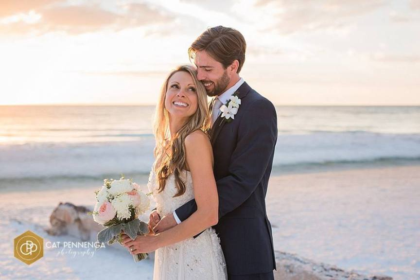 Bride and Groom on Siesta Key Beach