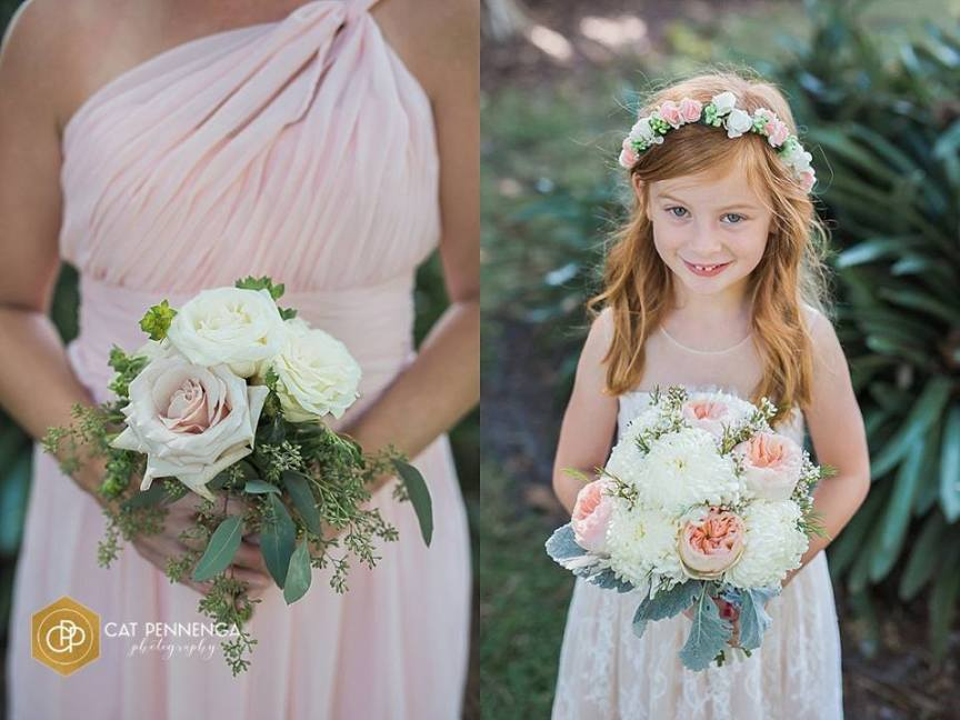 Bridesmaid and Flower Girl with Their Bouquets