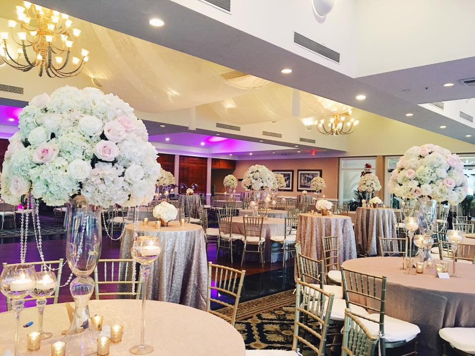 Glamorous Elevated Centerpieces at Longboat Key Club Harborside Ballroom
