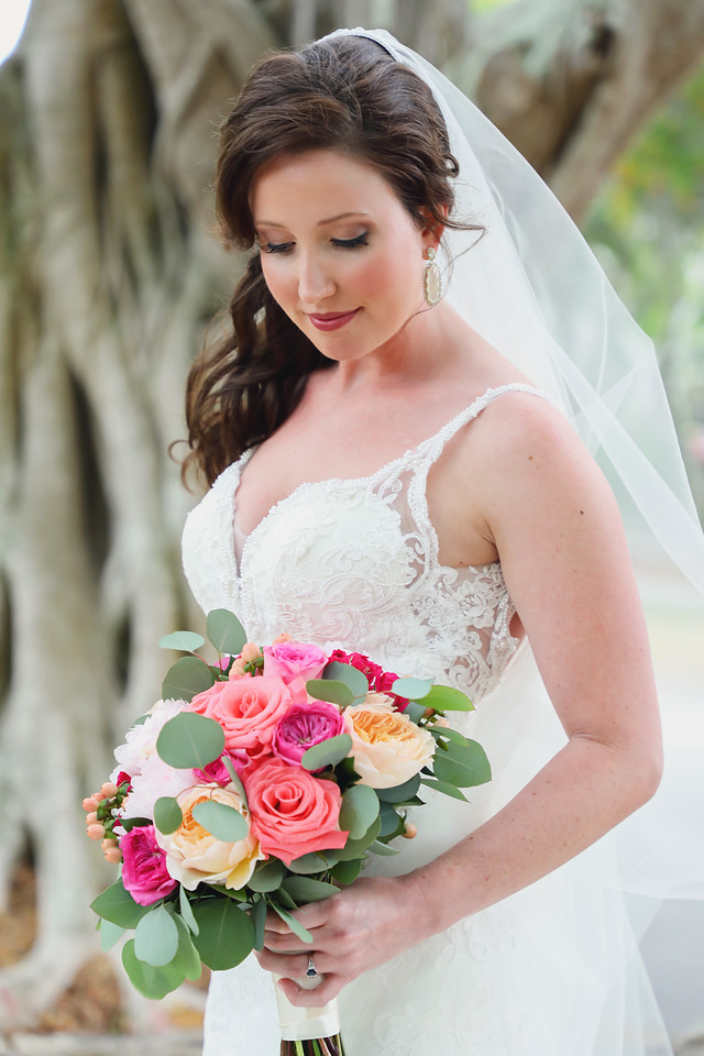 Colorful Bridal Bouquet with Hot Pinks and Corals