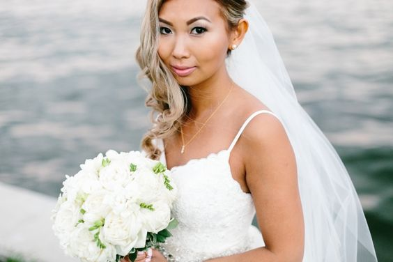 Bride with all white bouquet