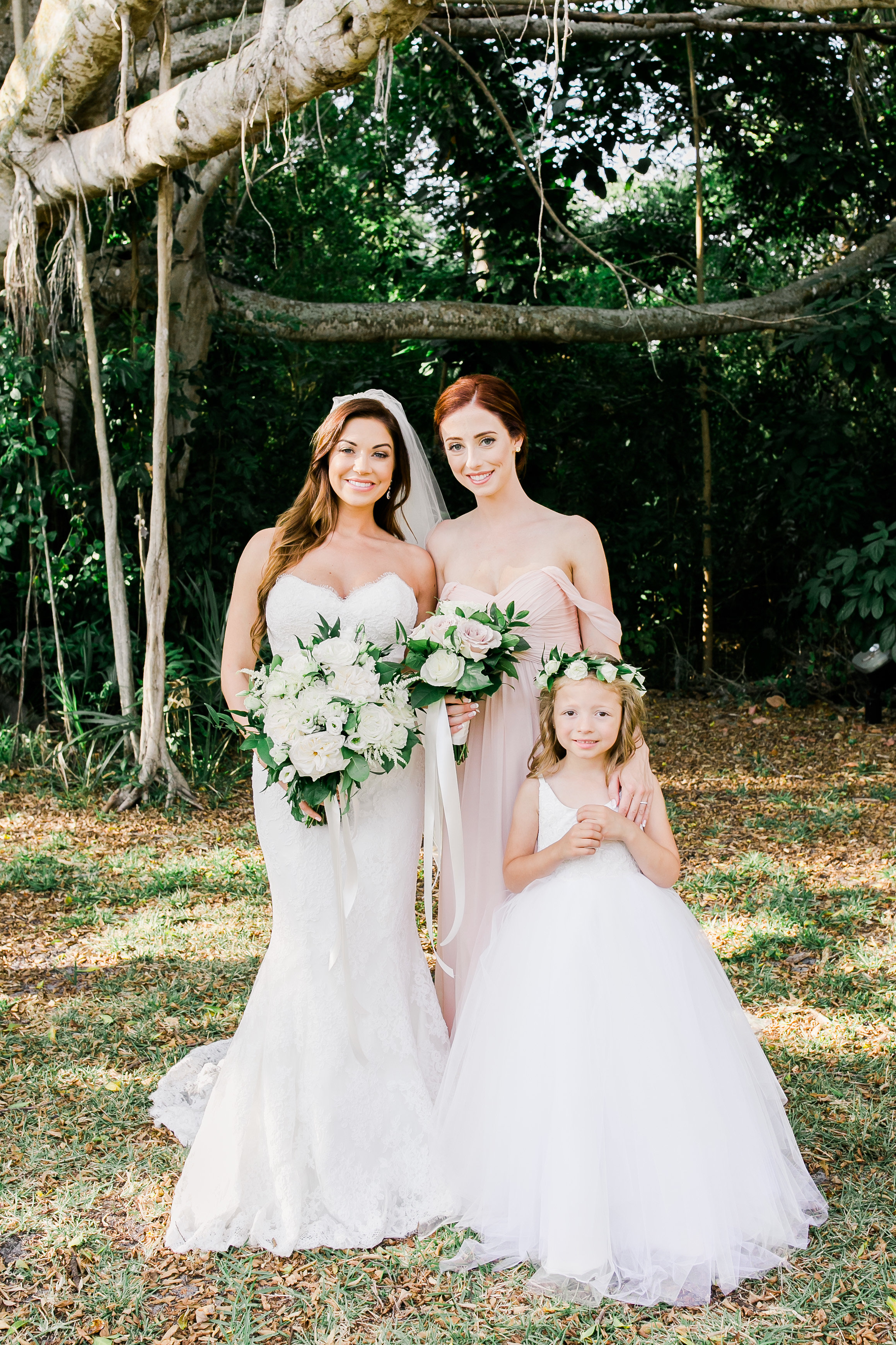Bride with Bridesmaid and Flower Girl