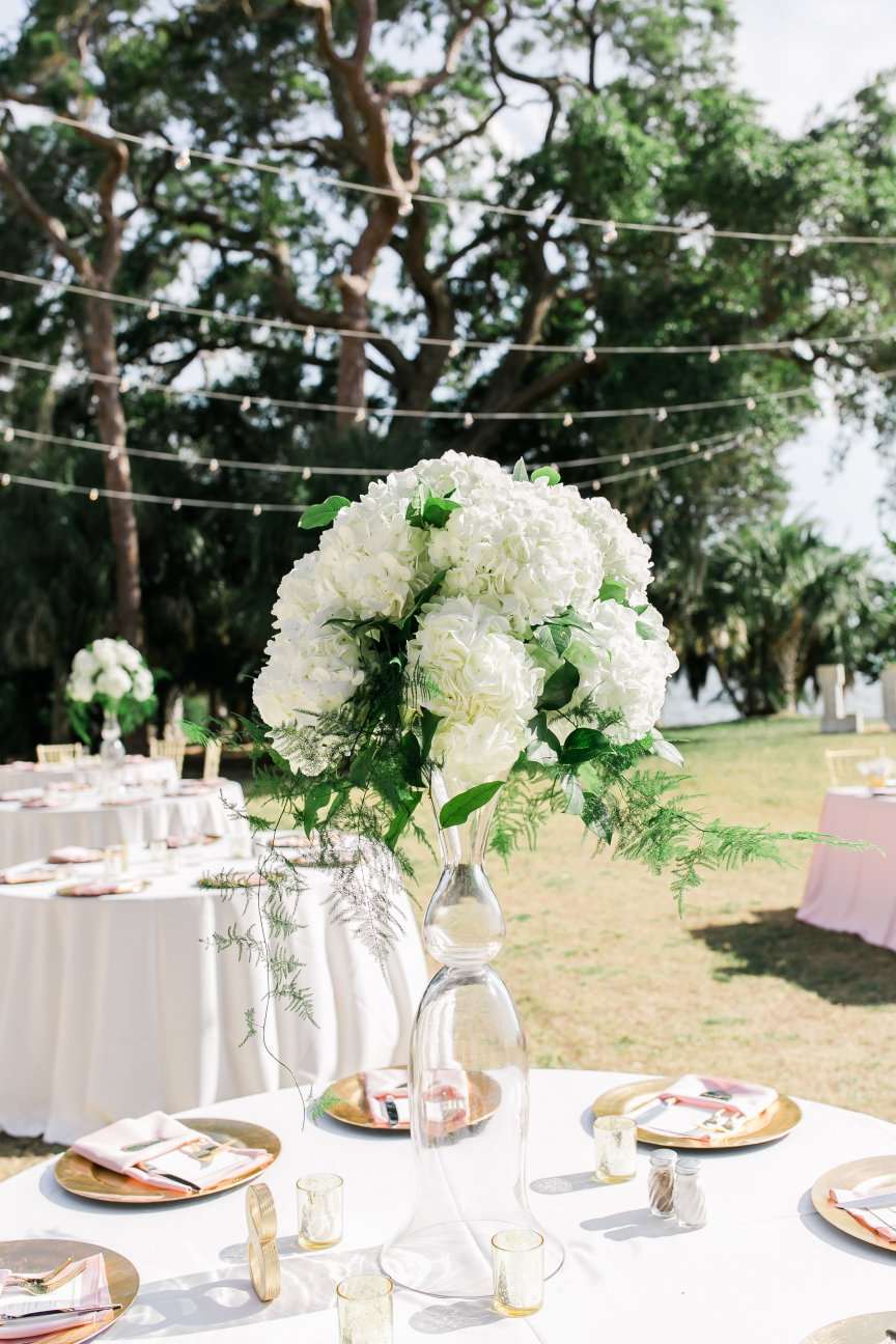 Elevated Reception Table Centerpiece with Hydrangea and Greens