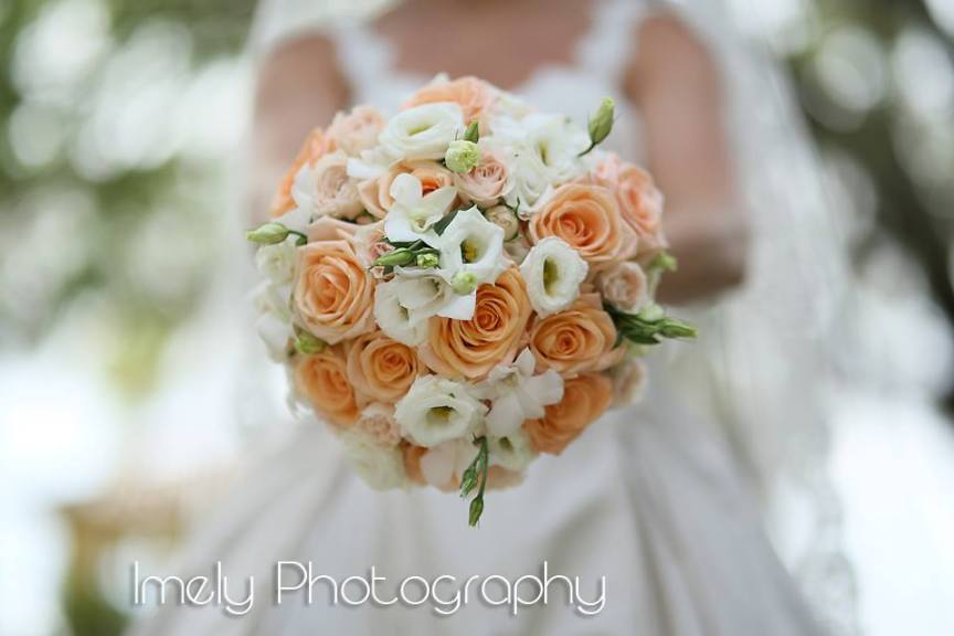Bridal Bouquet with Tiffany Peach Roses and Dendrobium Orchids
