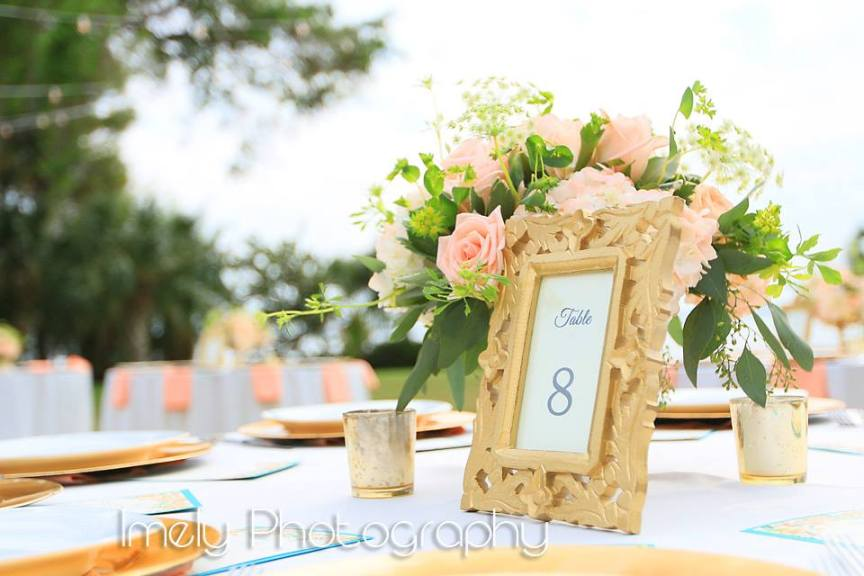 Reception Table Centerpiece with Gold Table Card Holder