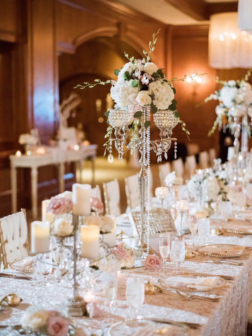 Feasting Tables with Candleabras with flowers and pearls