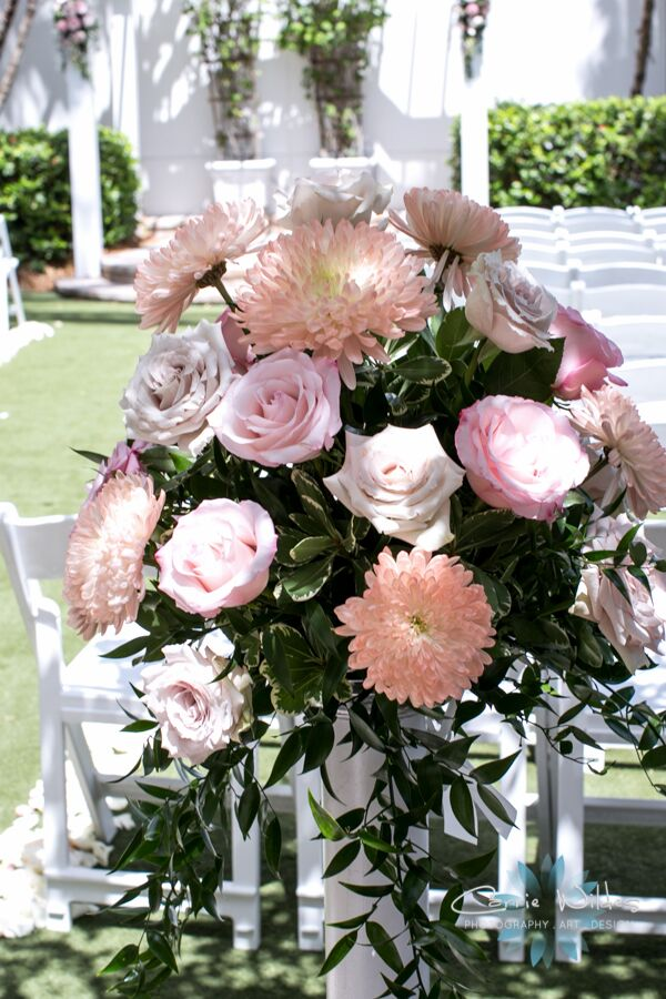 Back of Aisle Flowers in Shades of Pink