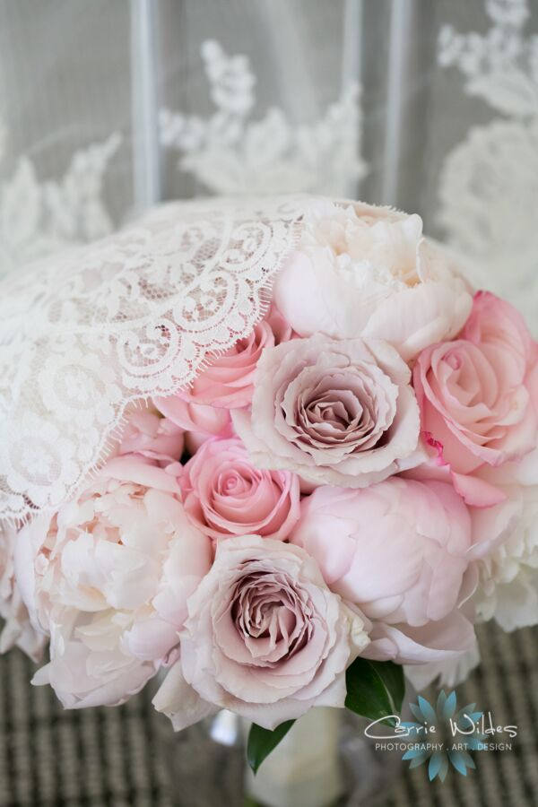 Bridal Bouquet in shades of soft pink peonies and roses