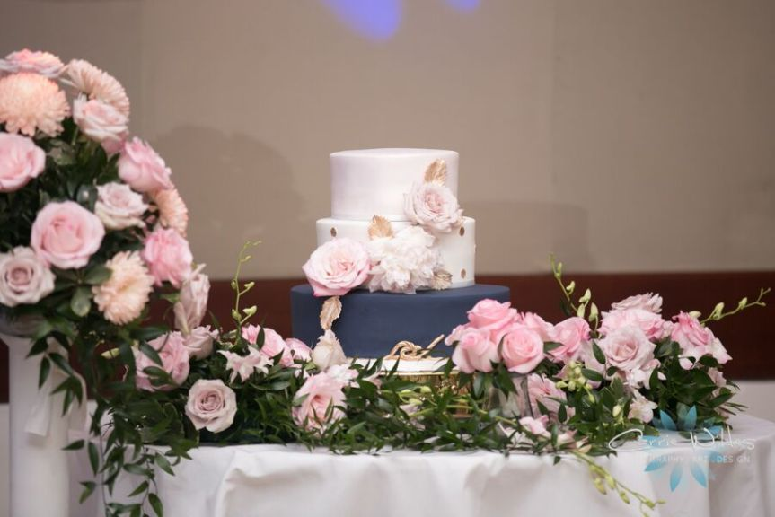 Cake Table with Back of Aisle Flowers from Gazebo