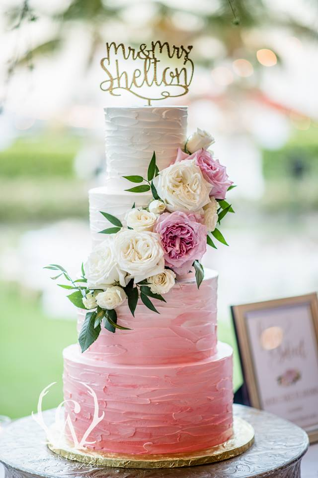 Ombre Cake with Fresh Roses