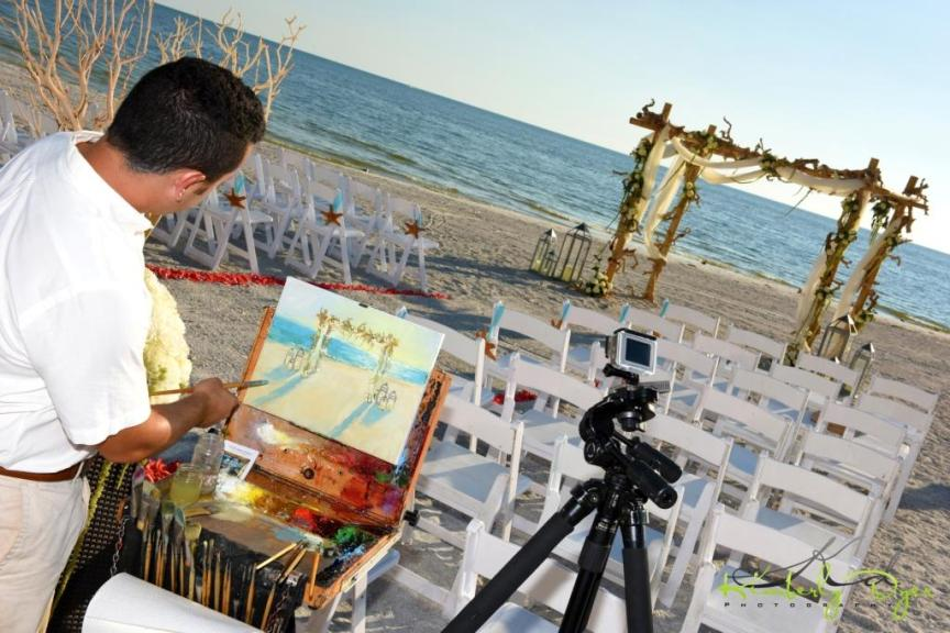 Artist Painting Beach Ceremony Set-Up