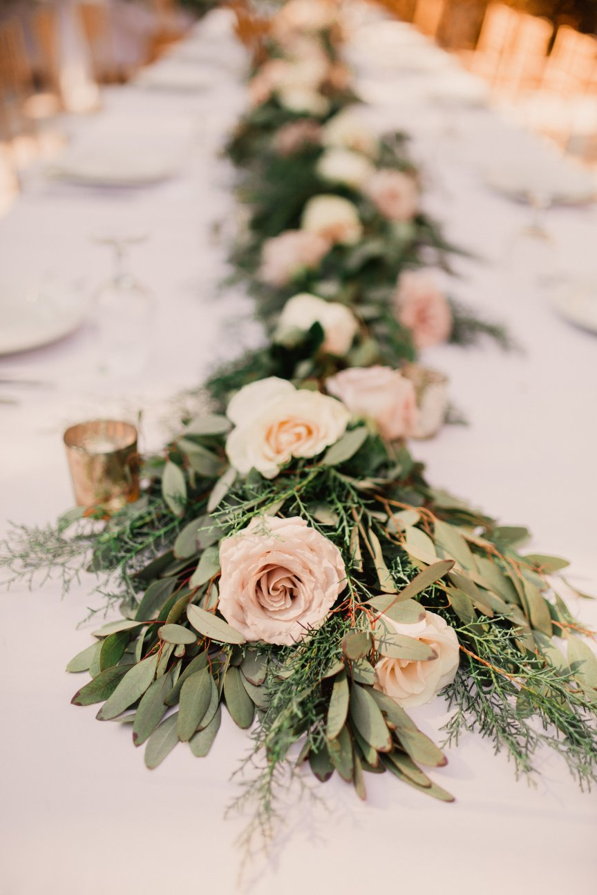Quicksand Roses Nested into Garland Table Runner