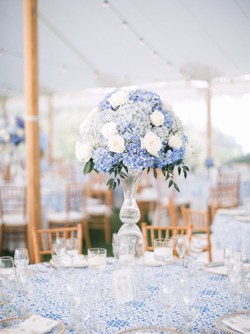 Tall Wedding Centerpieces with White Roses and Blue Hydrangea