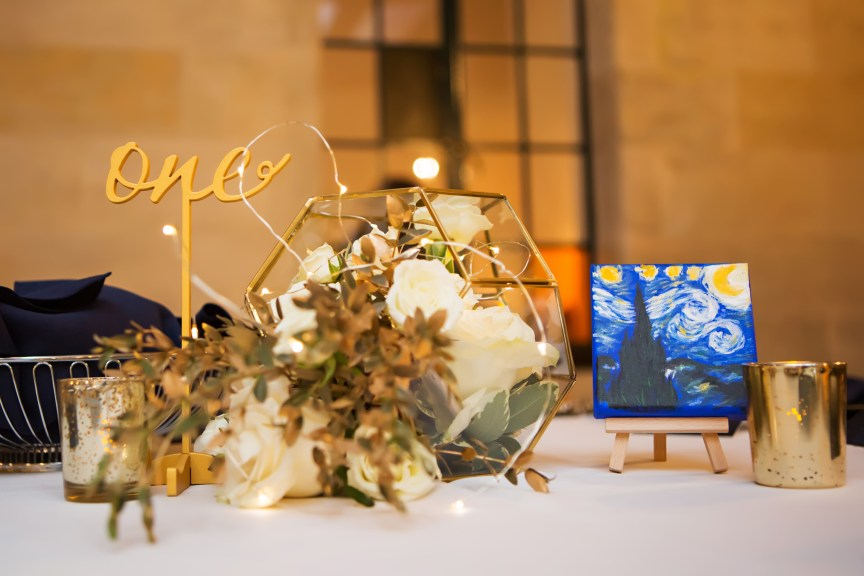 Van Gogh Starry Night Themed Guest Table Centerpiece